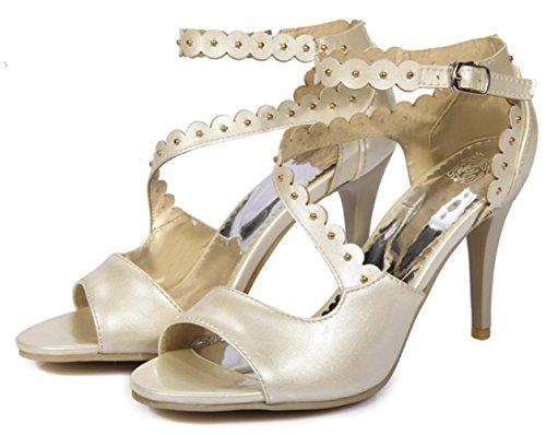 Pu artificiale YCMDM modo delle donne High Heel traspirante Hollow Sandali di sera del partito da sposa , beige , 39