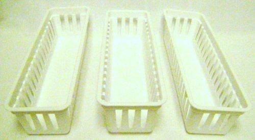 Slim Plastic Storage Trays Baskets in White- Set of 3 (Drawers White Basket)