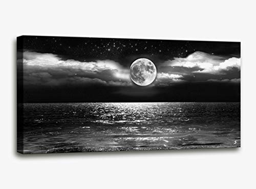 Canvas Art Black White Moon Sea Ocean Landscape Paintings Canvas Wall Art Print Paintings Modern Giclee Artwork for Wall Decor and Home Decor Stretched and Framed Ready to Hang(Ocean&Moon24 x 48inch)