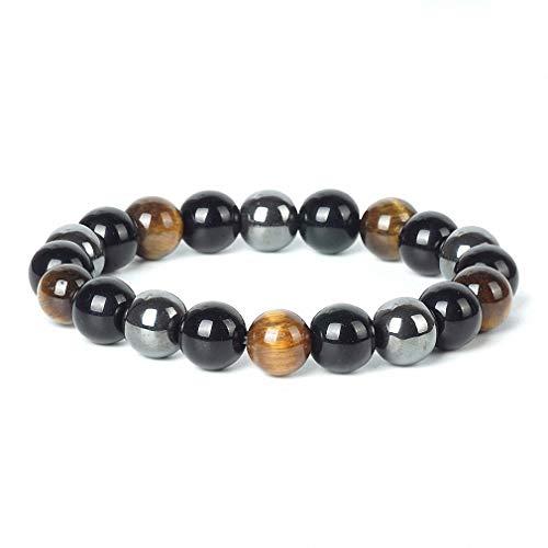 - Natural Hematite Tiger Eye Black Obsidian Stone Bracelet Women 10mm Beaded Men Magnetic Bracelets