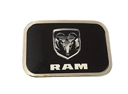 DODGE RAM Logo (Silver Tone Outline) - Black Enamel Belt Buckle