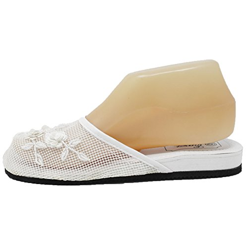 Cammie Beaded Women's Mesh Floral Slippers Chinese White rqrv7z8
