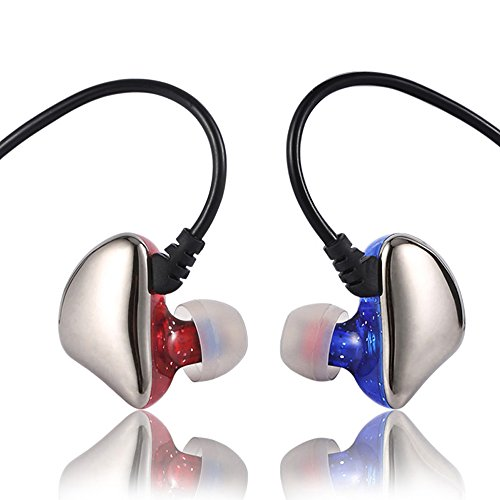 Dual Color Corded Earbuds - In Ear Sweatproof Sport Headphones Earphones with Remote Control and Mic, Earhook Wired Stereo Workout Earpods for Running Jogging Gym Compatible with iPhone iPod Samsung