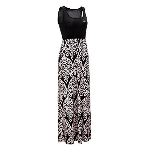 Neck Dress TM Casual Scoop Womens Tank Black Print BetterGirl Floral Long Maxi qTvtOwO