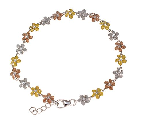 925 sterling silver yellow rose gold tricolor plated Hawaiian plumeria flower bracelet 6mm 7