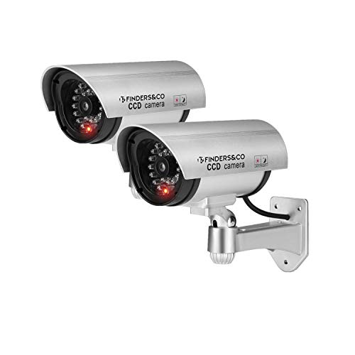 Fake Security Camera, Dummy CCTV Surveillance System with Realistic Red Flashing Lights and Warning Sticker (2, Silver)