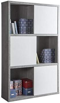 Composad librería A Doce Compartimentos con Puertas correderas Color Cemento y Blanco Lacado Brillante, 12: Amazon.es: Hogar