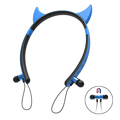 Wireless Bluetooth Devil Ear Headphones V4.2 Magnetic Neckband Earbuds with Mic in-Ear Stereo Earphones Girl Compatible with Smartphones PC Tablet Game