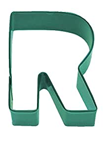 R&M Letter R Cookie Cutter Green With Brightly Colored, Durable, Baked-on Polyresin Finish