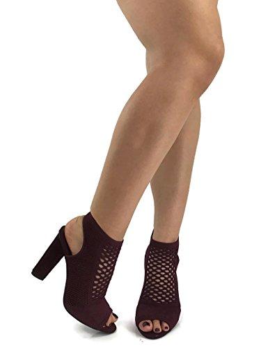 D Fashion Bootie Da Donna Con Cinturino Alla Caviglia Con Peep Toe Block Tacco Alto Bordeaux