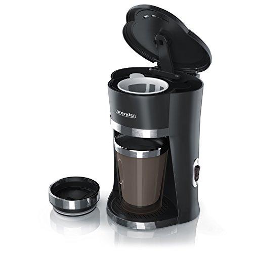 Arendo - 1-Cup Schnellkoch-Kaffeemaschine To Go mit 300ml Thermo-Becher | Leistungsaufnahme: 420W | permanenter Nylonfilter (herausnehmbar) für aromatischen Kaffee | doppelwandiger Thermo-Becher | neues Modell