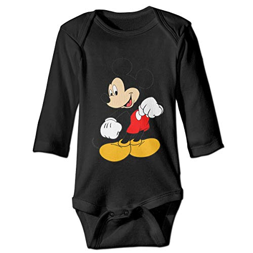 Mickey Mouse Custom Unisex Baby's Toddler Cotton Long Sleeve Romper Black -