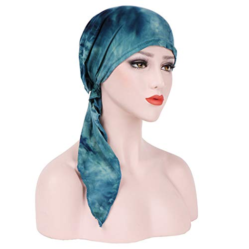 Fashion Scarf Tied (Chemo Cancer Head Scarf Hat Cap Ethnic Printed Pre-Tied Hair Cover Wrap Turban Headwear (A Green Tie Dyed))