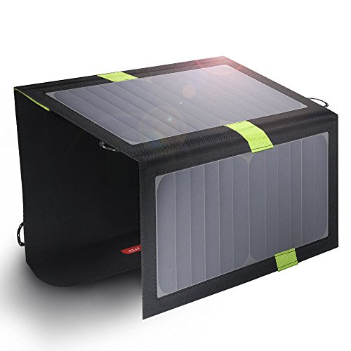 Portable Solar Chargers X-DRAGON 20W SunPower Solar Panel Waterproof Foldable Camping Battery Charger with Dual USB Ports & SolarIQ Technology for iPhone, iPad Mini, Samsung, Other Cell Phones