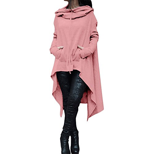 (ZYAP Women Irregular Hood Sweatshirt Hooded Ladies Long Pullover Tops (Pink,US:12/CN-2XL))