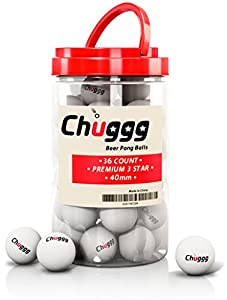 NO-DENT CHUGGG 36 count Beer Pong Ping Pong Balls 3-Star 40 mm Advanced Training Table Tennis Balls with Carry Case for Easy Transport White Recyclable Washable