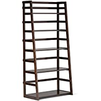 SJ Collection B12900003 Hyder Tall Wood Shelf Bookcase Espresso, Big, Tobacco Brown
