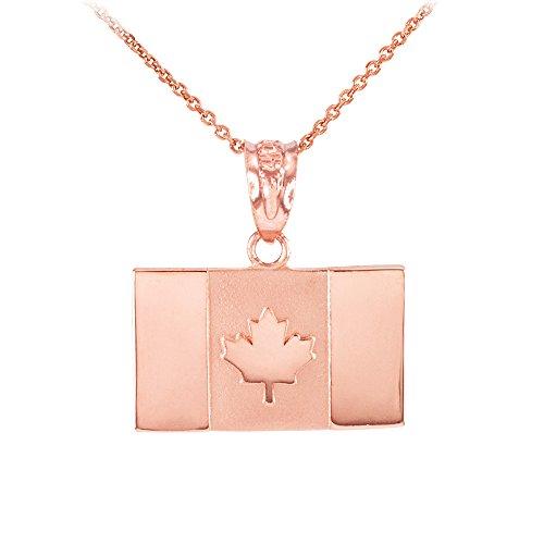Collier Femme Pendentif Solide 10 Ct Or Rose Canada Drapeau (Livré avec une 45cm Chaîne)