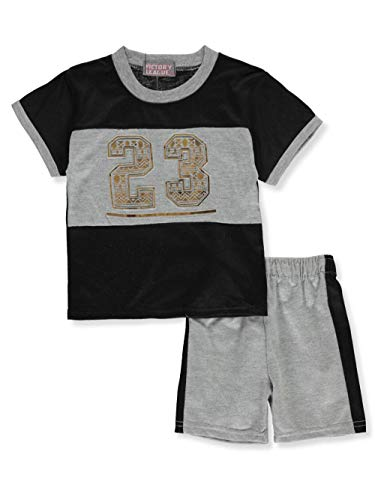 Victory League Baby Boys' 2-Piece Shorts Set Outfit - Black/Gray, 12 Months
