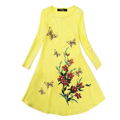 Dillian Girls Butterfly Print Dress (130(7-8Y), Yellow)