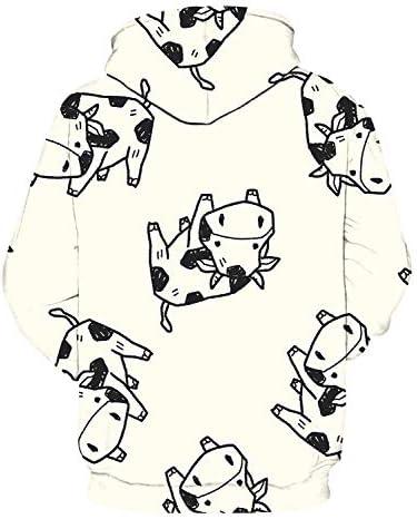 パーカー 牛 漫画 子供 野獣 可愛い 動物 長袖 フード付き 無地 カジュアル 秋服 トップス 3Dプリント レディース メンズ 暖かい ストリートポケット付き 男女兼用