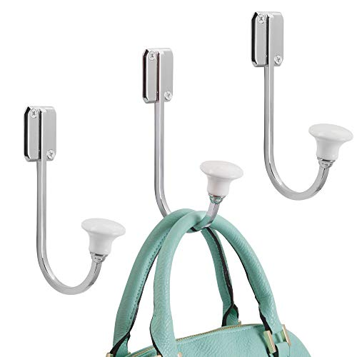 Rail Metal Quad - mDesign Vintage Wall Mounted Decorative Solid Metal & Ceramic Single Storage Organizer Hooks for Coats, Hoodies, Hats, Scarves, Clothes, Clothing, Bath Towels & Robes - Pack of 3, Chrome/White