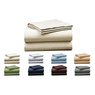 EL&ES Bedding Collections 1000 Thread Count Bedspread 100% Cotton Sheet Set Sateen Weave Deep Pocket Premium Quality Bedding Set Ivory Queen