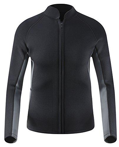Long Sleeve Jacket (EYCE DIVE & SAIL Men's 3mm Wetsuit Jacket Top Long Sleeve Neoprene Wetsuits (Black/Grey, Medium))