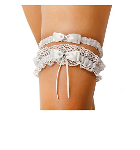 LR Bridal Ivory Bow Tie Ribbon Style Wedding Garter Set With Rhinestone. One For Keep, One For (Wedding Garter Set)