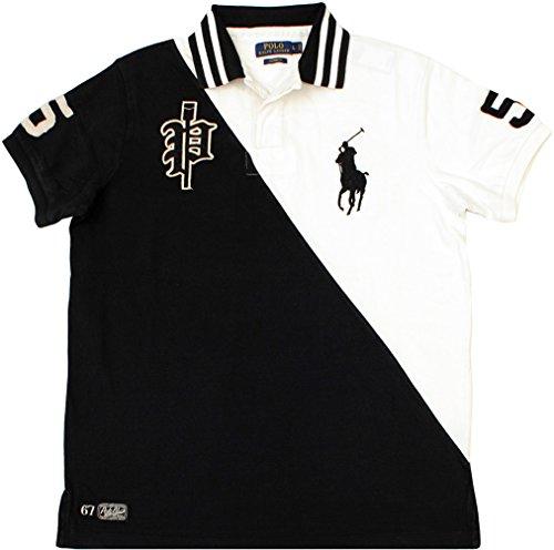 Polo Ralph Lauren Men's Custom-Fit Two-Toned Big Pony Crew Polo, Black/White, Large