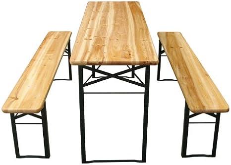 3 Pezzi Tavolo 177 x 46 x 75 cm Set da Giardino Pieghevole in Legno di Abete Birreria da Esterno MIADOMODO Set Birreria Tavolo e Panche da Giardino per Campeggio
