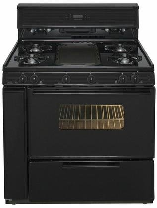 Premier SLK849BP Gas Range with 10 Inch Tempered Glass Backguard with Electronic Clock/Timer Electronic Ignition and Tempered Black Glass Windowed Oven Door with Interior Oven Light in by Premier