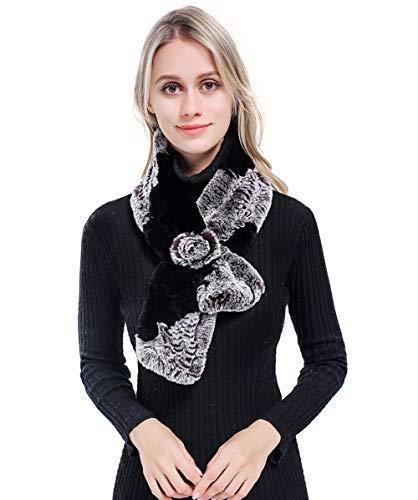 MEEFUR Womens Real Rex Rabbit Fur Scarves Rose Design Winter Neck Warmer Knitted Flower Neckerchief