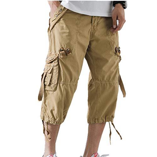 (ONLYWOOD Men's Washed Cotton Multi-Pockets Below Knee Long Military Cargo Shorts(Khaki,38))