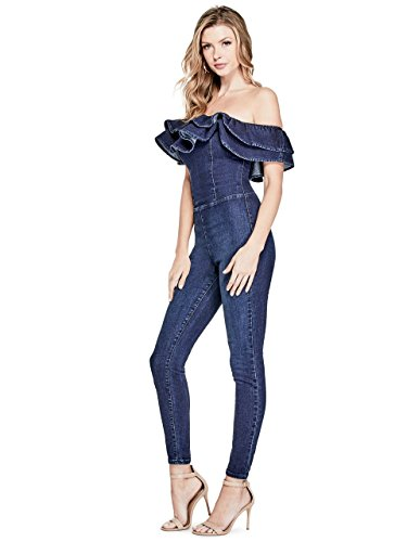 GUESS Women's Ruffle Jumpsuit, Dark Wash, M by GUESS