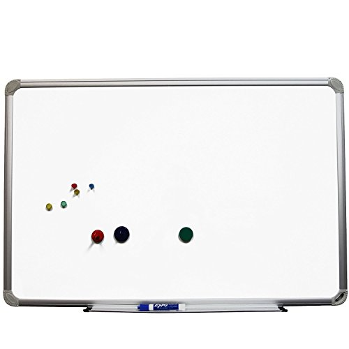 Superior Essentials 48 X 36 Inch Magnetic White Melamine Dry Erase Board with Aluminum Frame and Marker Tray