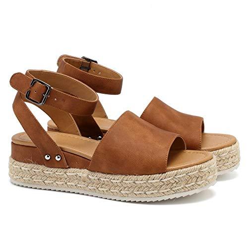 (VANDIMI Womens Platform Sandals Espadrille Wedge Ankle Strap Open Toe Sandals Summer Casual Peep Toe Straw Shoes)