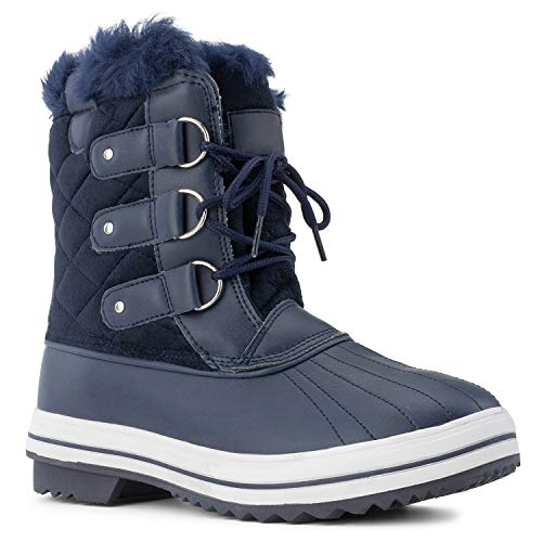 RF ROOM OF FASHION Women's Waterproof Warm Fur Lined Cold Weather Snow Rain Ankle Boots Navy Size.8