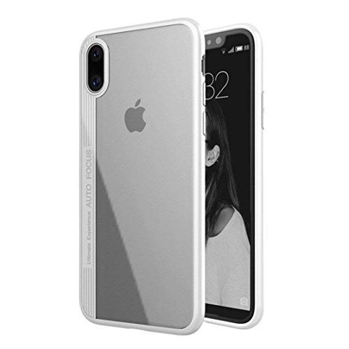 (iPhone X Case Auto Focus Clear TPU PC Vertical Stripe Design Transparent Phone Cover for iPhone X (White) )