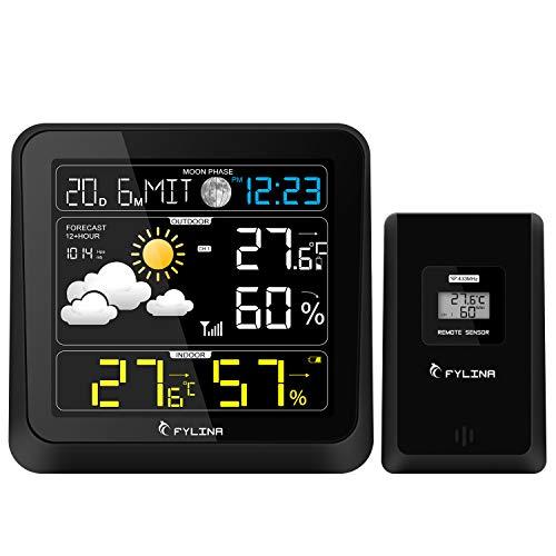 FYLINA Weather Station with Outdoor Indoor Sensor, 13-in-1 Multifunction 360 Degree...