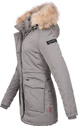 Navahoo Damen Winter Jacke Parka Mantel Winterjacke Warm Gefütterte Kapuze  B612 Grau A42fO ...