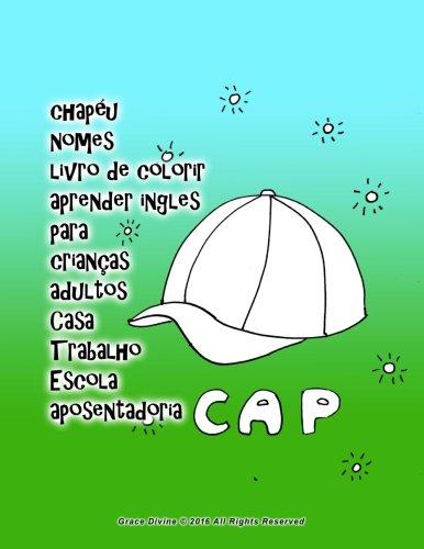 Chapéu Nomes Livro de Colorir Aprender Ingles Para Crianças Adultos Casa Trabalho Escola Aposentadoria
