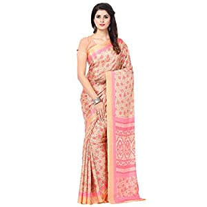 Jaanvi fashion Women's with Blouse Piece Womem's Saree (studio-crepe-03_Pink_one Size)