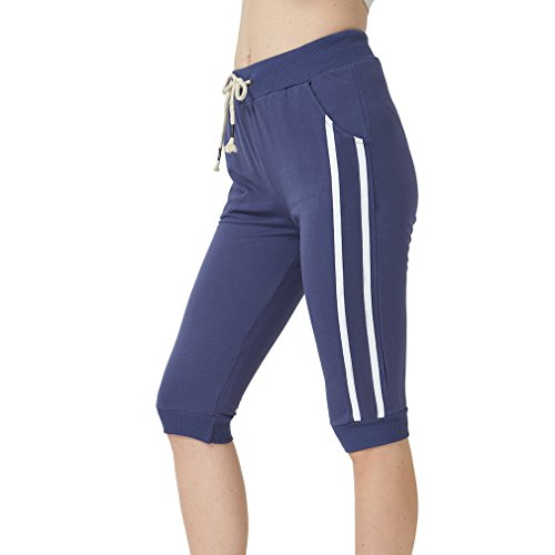 KDi Women's Shorts Jogger Sweatpants Running Trousers Tracksuit Capri Pants (L, (Cropped Womens Sweatpants)