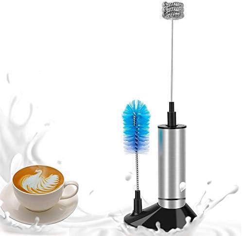 Lychee Licuadora de Leche de Acero Inoxidable de Fabricante eléctrico de la Espuma para el café, el Latte, el Cappuccino, el Chocolate Caliente, con el Soporte y el Cepillo Limpio: Amazon.es: Hogar