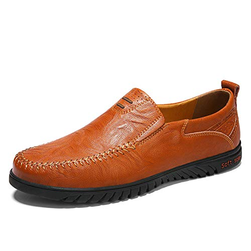 Men Shoes Genuine Leather Comfortable Casual Chaussures Flats Men Slip On Lazy Shoes,01 Red Brown,6