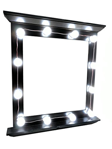 7.5' Length Bathroom Fixture (Hollywood Celebrity Style LED Vanity Mirror Attachment Kit with 12 Natural Bright White LED Light Bulbs by yaway for Makeup Dressing Table Cosmetic Attachment Perfect Fit for Mirrors + Dimmer Switch)
