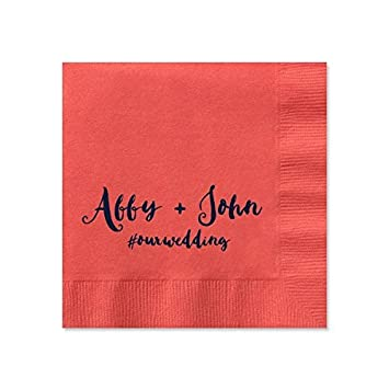 Personalized Coral Wedding Cocktail Napkins Set Of 100