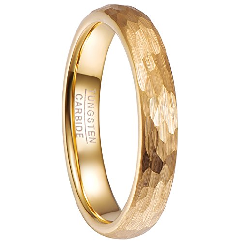 - Nuncad Tungsten Ring 4mm Hammered Finish Gold Plated Comfort Fit Domed Wedding Band for Men for Women Size 11