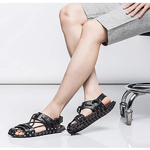 Ecopelle In Uomo Primavera Resistenti Antiscivolo All'abrasione Sandal Comfort Estate Da Black Pantofola nUxXETI